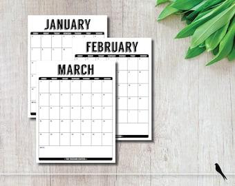 2018 Tall Portrait Modern 12 Month Wall Calendar Black White - Home Office Calendar Planner - Wall Calendar Planner - Instant Download