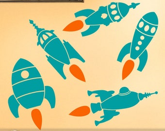 15 to 18 inch Rocket Wall Decals, Outer Space Decor, Spaceship Vinyl Wall Decals for Kids Rooms decor Large X77 (0177b)