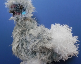 Grey Silkie crochet Chicken