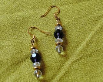 Purple velvet and crystal ball earrings