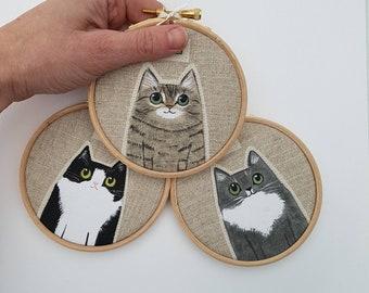 Custom pet portrait - Personalised pet portrait -custom cat portrait   - Cat Mom gift - pet memorial - cat lover gift - custom pet