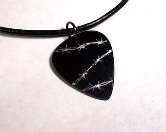 SALE - Engraved Barbed Wire Plastic Guitar Pick Necklace or Pendant, black and silver