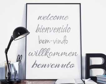 Welcome digital poster, welcome different languages, typography, lettering, wall decor, home decor, welcome sign, calligraphy, art, quote