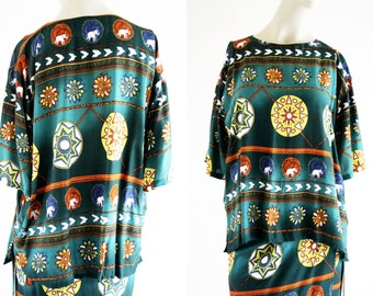 Uno Brand Vintage 2 Piece Multi Color Short Sleeve Blouse and Woman's Retro Wrap Skirt