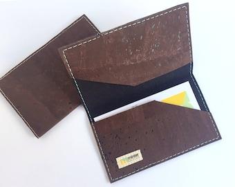 Cork business card case, chocolate cork fabric. Card case. Card holder. Stocking stuffer.