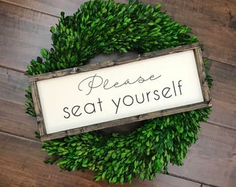 Please Seat Yourself Sign | Bathroom Wall Decor | Farmhouse Bathroom Sign | Funny Bathroom Humor Sign | Farmhouse Sign | Toilet Sign | Potty