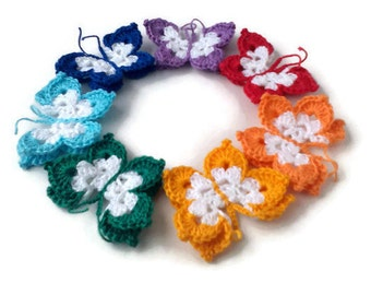 Colorful Crochet Butterfly Applique Rainbow Crocheted Handmade decoration set of 7 pieces