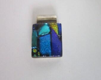 Vintage Retro Sterling Silver Wild Multi Colored Metallic Necklace Pendant