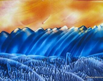 4X6 Encaustic (Wax) Original Painting. Burnt Orange, Cobalt Blue. SFA (Small Format Art)