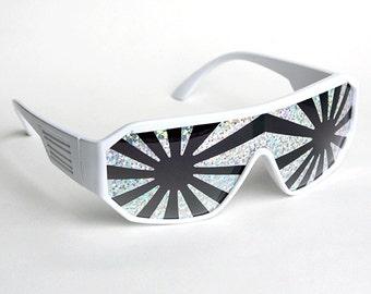 Rasslor Silver Star Burst on White Sunglasses