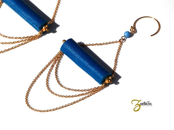 "Earrings Pearl blue leather duck, multi strand chain gold 14K - glamorous Boho Chic - model ACAPULCO ""Mexico Collection"""