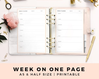 A5 HALF Size Printable Personal Planner Inserts, Weekly Planner, Week On One Page, Productive Planner