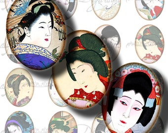 Vintage Japanese Ladies (3) Ovals 30x40mm or 18x25mm or other with Beauties from Asia Digital Collage Sheet -- See Promo Offer