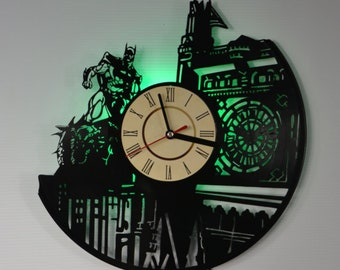 Batman Gotham City Vinyl Record Wall Clock - Led Night Light (Green) - Original Home Decor - Wall Decor - Gift for Adults, Youth, Teens