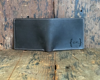 Leather Bifold Wallet - Slim Mens Wallet - Personalized Leather Wallet - Monogram