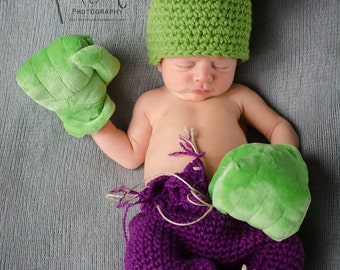 Newborn Hulk Hat and Pants/Gloves not included