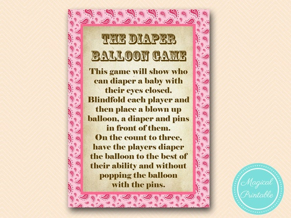 Diaper Balloon Game Coed Baby Shower Game Girl Pink Paisley