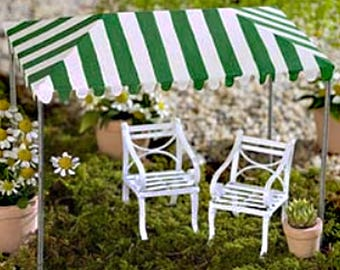 Green Striped Fairy Garden Tent, Miniature Circus or Carnival Tent for Fairy Tea Party or Birthday Miniatures and Spring Garden Decorations