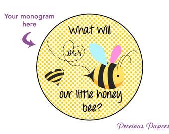 Personalized PRINTED bee gender reveal stickers  bumble bee gender reveal stickers