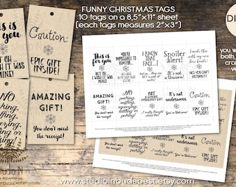 Funny Christmas tag, Funny christmas label, Xmas tags printable, Christmas tag printable, funny craft paper tags, printable tags, gift tag,