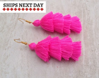 Modern Pink Earrings, Bohemian Tassel Earrings, BOHO Drop Earrings, Festival Jewellery, Festival Earrings, Modern, Holidays, Lightweight