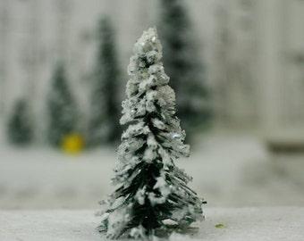 "Snowy Evergreen Tree - 2"" - Set of 4 miniature doll house tree miniature tree fairy garden diorama mini trees tree set - 218-0402"