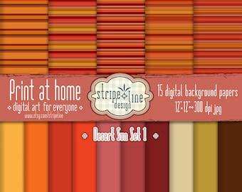 Digital paper Desert SunSet 1 - Printable digital artwork. Scrapbook Papers Set, Digital Background, Scrapbook Pages