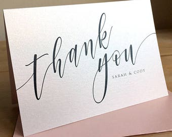 Personalized Thank You Note Card Set /  Calligraphy Thank You Cards / Modern Stationery / Set of 10 Folded Shimmer Note Cards - T346