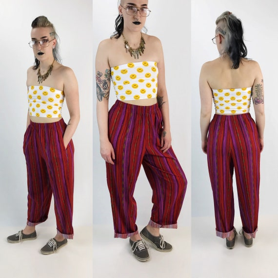 90's High Waist Pinstriped Casual Printed Pants Size Medium  - All Over Print Purple Red Black Womens VTG Elastic Waist Trousers w/ Pockets