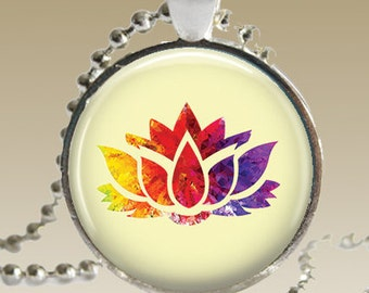 Lotus Flower Jewelry/ Yoga/ Colorful Necklace/ Zen Jewlery/Buddha/ Lotus Flower/ Zen/ Yoga Gift/ Gift for Her/ Spiritual Jewelry