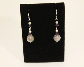Labradorite and Iolite Sterling Silver earrings
