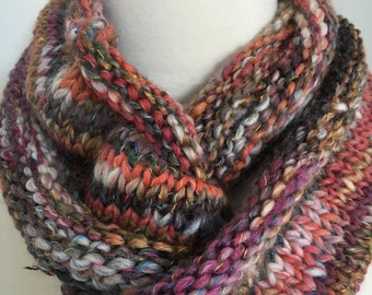 Knit Infinity Scarf Soft Multi Textured Multi Colored Tweed Handmade Accessories Ready To Ship