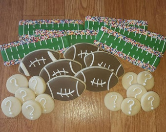 Superbowl Cookies - Football Cookies Decorated Sugar Cookies - Decorated Cookies - Birthday Cookies, Party Cookies, Custom Cookies,