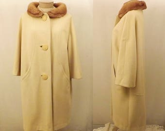 50's Vintage Grandura Wool Coat with Mink Fur Collar Size L