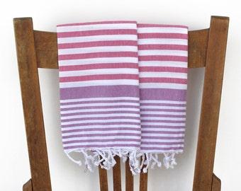 Turkish Hand Towels Handwoven Cotton Kitchen Towel Bathroom Towel Face Towel Tea Towel Guest Towel Turkish Towel Pink PURPLE PESHKIR SET