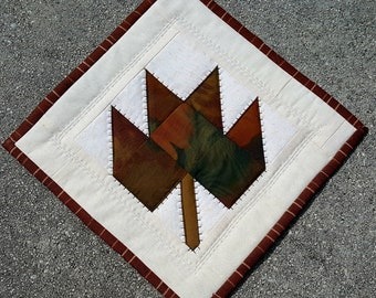 SALE Patchwork Maple Leaf Mini Quilt, Coaster, Mug Rug Natures Earth Tones