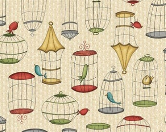 Beige background by 10cms birds Cages cotton fabric