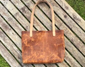Shoulder Bag / Tote - Horween waxed horse front English Tan