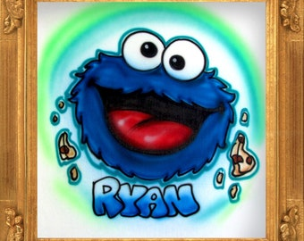 Blue Furry Monster airbrush t-shirt
