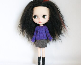 Blythe doll Violet Sweater knitting PATTERN - cables short or long sleeve for Neo - instant download - permission to sell finished items
