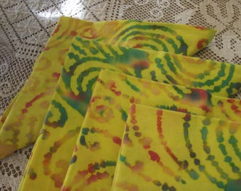 Set of Four Handmade Yellow Batik Fabric Napkins With Blues and Greens, Cotton Napkins, Cloth Napkins, Dinner Napkins, Luncheon Napkins