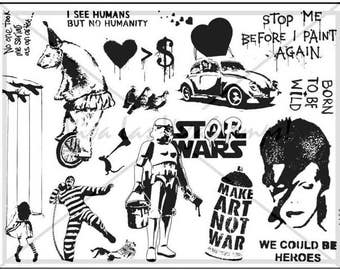 rubber stamps unmounted plate  Banksy Rubber Stamp     no. 1482