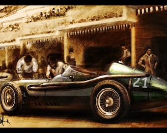 Vintage Automotive Art : Grand Prix 1957 Maserati 16x24 Metallic Print