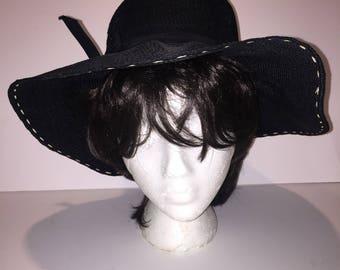 Vintage Black Weave Wide Brim Sun Hat