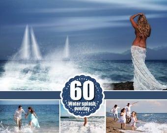 60 type of water photo Overlays, splatter splash sea ocean summer overlays, photography textures, Photoshop overlay, png files
