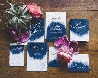 Navy Blue Watercolour Wedding Stationery - SAMPLE - Navy Wedding - Illustrated Watercolor Wedding - Artwork by Alicia's Infinity