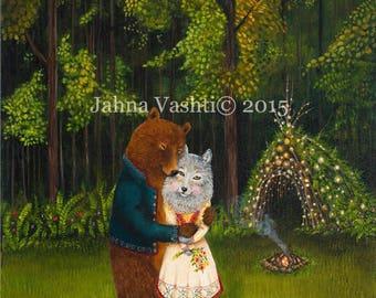 Big Print / 18x24 / Giclée / Bear / wolf / grizzly / animal art / woodland art / housewarming gift / engagement gift /woodland wedding