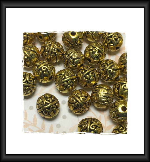 Round Antique Gold Finish Bali Style Beads 6 x 5 mm - 10 beads