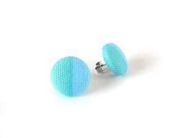 Turquoise stud earrings - teal blue fabric button earrings - simple geometrical post earrings - minimal jewelry - modern earrings - summer