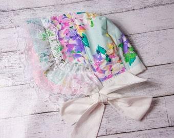 Floral Baby Bonnet- floral sunbonnet, Easter bonnet, Baby girl hat, Easter baby bonnet